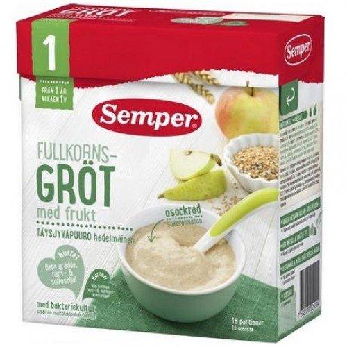 Semper Плодова бебешка пълнозърнеста каша с ябълки и круши с бифидус ефект 530гр12м.+ 2920